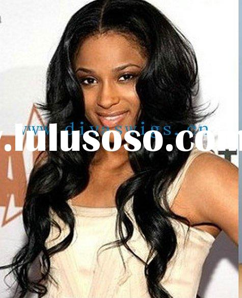 glueless cap black wavy indian remy human hair full lace wig accept paypal