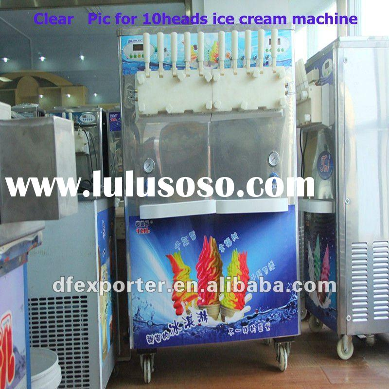 high effiency and biggest 10heads soft serve ice cream maker for bussiness
