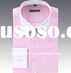 hot pink stripes and white collar dress shirt