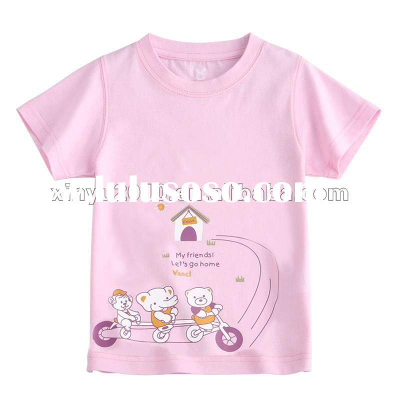 lovely pink 100%combed cotton baby t shirt