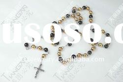 new hot sale fashion classical stainless steel rose gold rosary ball chain with cross pendant TG17