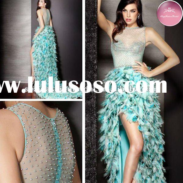 new style 2012 bateau neck beaded bodice high low hem short short and long back feather prom dress 2