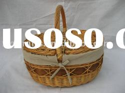 oval wicker picnic basket with cover