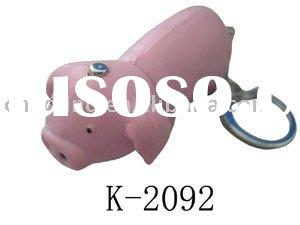 pig shape plastic key chain with led light