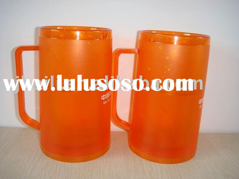 plastic double wall frosty mug / beer mug (liquid /GEL)