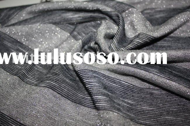 polyester cotton with lurex yarn dyed slub knit fabric