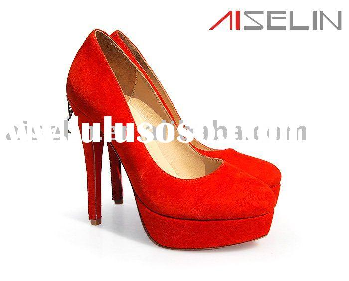 red wedding shoe in suede leather with high heel