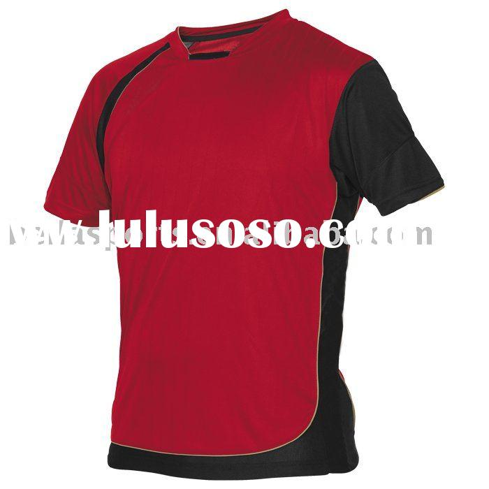 red with black soccer jerseys,embroiderying soccer/football uniform/kits,round neck short sleeve clu