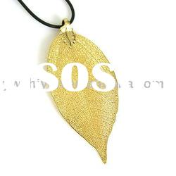 24k gold plated natural leaf necklace