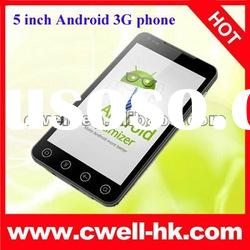 5inch screen mobile phones Dual SIM 3G Android 2.3.6 WIFI TV GPS Mobile Phone A7