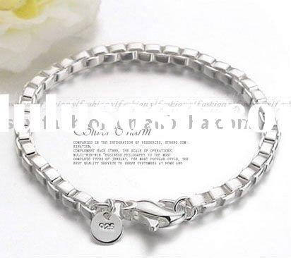 925 Solid Sterling Silver Box Bracelet jewelry DB073