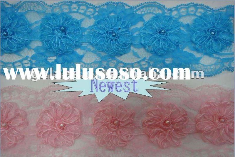 African Organza Beaded Lace Fabric SHY0025