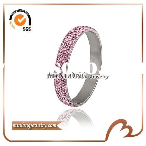 Big Wide copper pink rhinestone bangles
