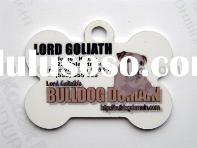Bulldog bone dog tag,heart shape dog tag,pet tag