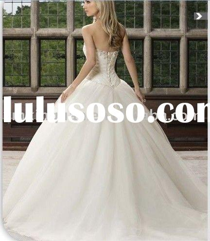 EFW635 Fantasy jeweled neckline ball gown organza wedding dress