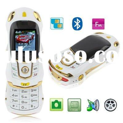 FFwhite, Sports Car Style, Bluetooth FM function Slide Design Mobile Phone, Dual sim card Dual stand
