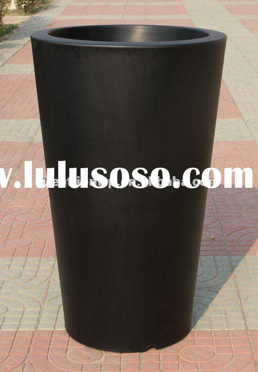GR07110 black barrel tall plastic planter pot, barrel outdoor flower pot