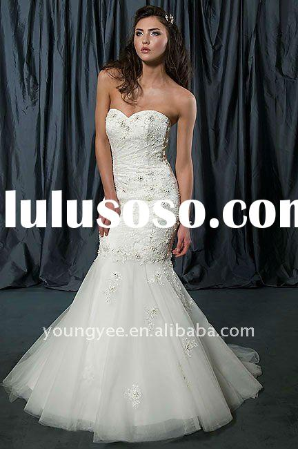 High quality sweetheart tulle lace mermaid wedding dress bridal dress 2011(WD10092)