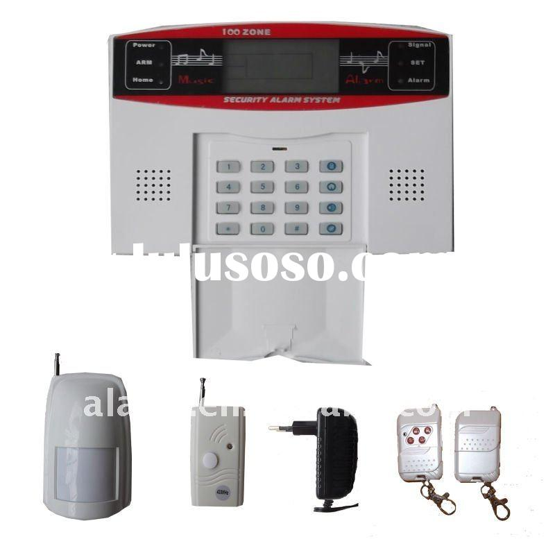LCD display wireless/wired home burglar alarm with voice indication