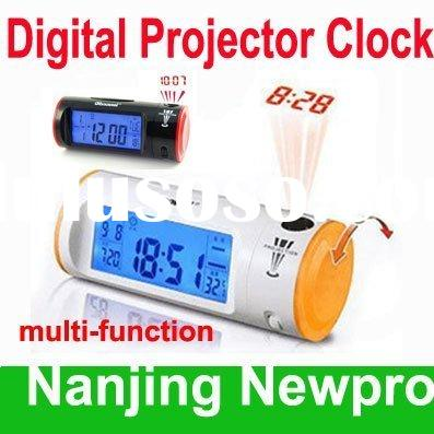Multi-functional Sound Control LCD Digital Projector Alarm Clock with calendar time and thermometer
