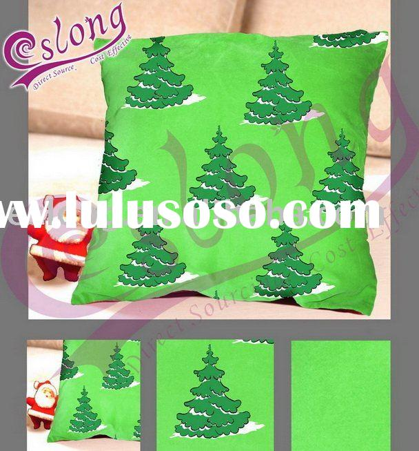 Printed Christmas Tree Cushion 100% Polyester Fabric Home Textile