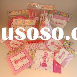 Promotional food grade cute baby shower party and 1st birthday party supplies for girls