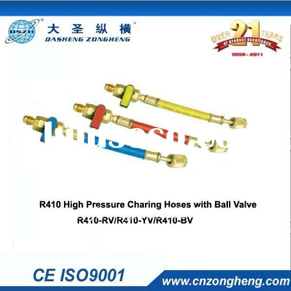 R410 high pressure charging hose with ball valve