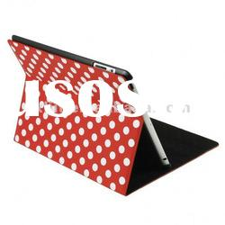 Red&White 360 Rotating Magnetic Polka Dots PU Leather Stand Cover case For iPad 2 3rd