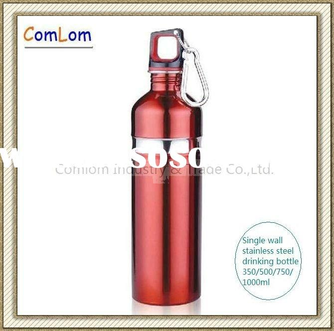 Single wall stainless steel drinking water bottles