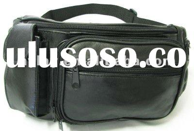 Stylish black genuine leather waist bag for men