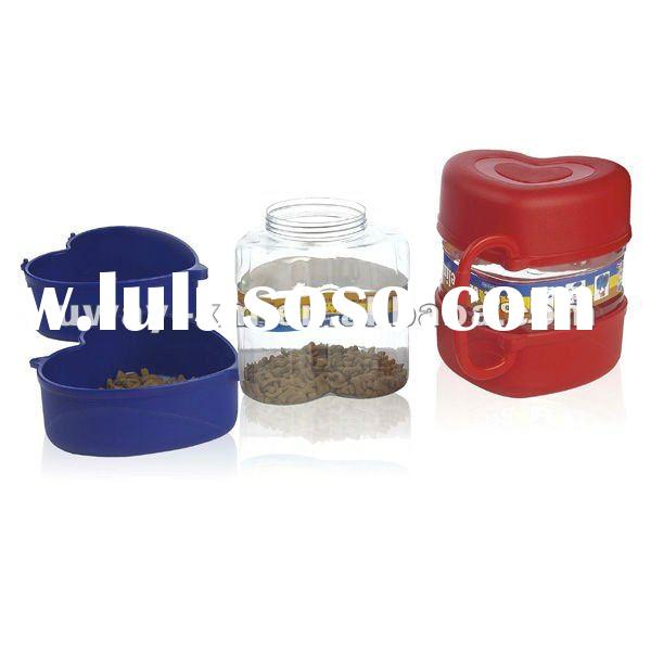 UW-FSC-028 Multi-function heart shape plastic pet food container for traveling,pet food jars,pet tra