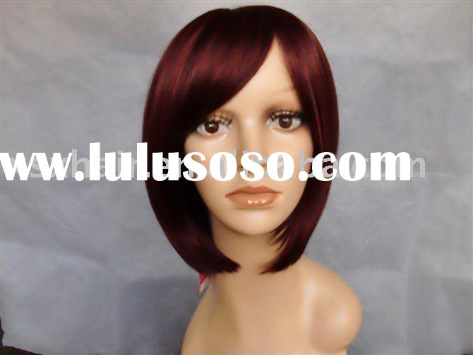 Wholesale price!!! Wine red color short human hair wigs