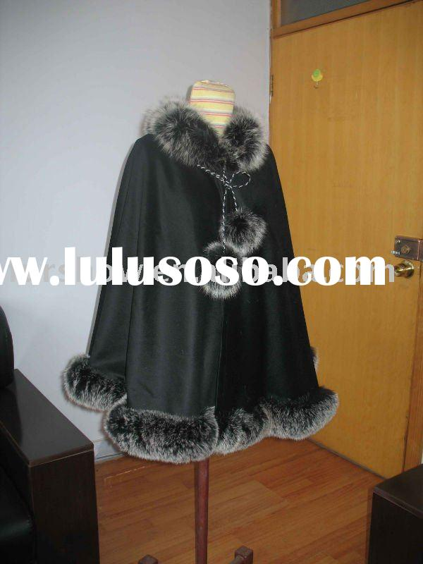 cashmere cape with fox fur trimming
