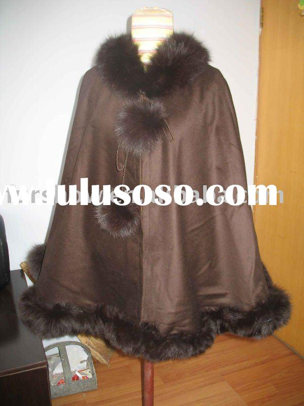 cashmere cape with fox fur trimming AA0245