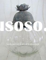 decorative glass jars with flower cover