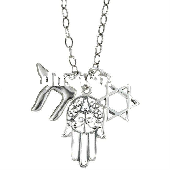 fashion antique silver plated simple Jewish symbols celtic,hamsa and star of David pendant necklace