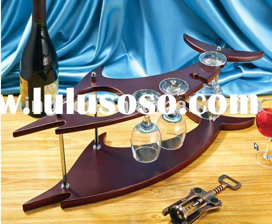 fish shape wine shelf with wine cup holder,bar furniture,wood wine shelf,wine bottle shelf