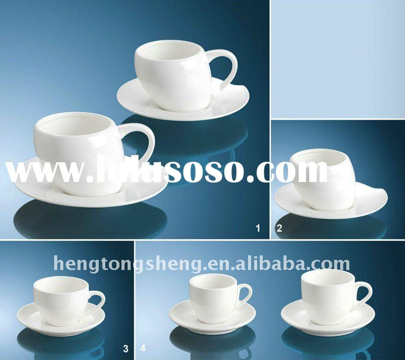 funny plain white coffee cup and saucer set