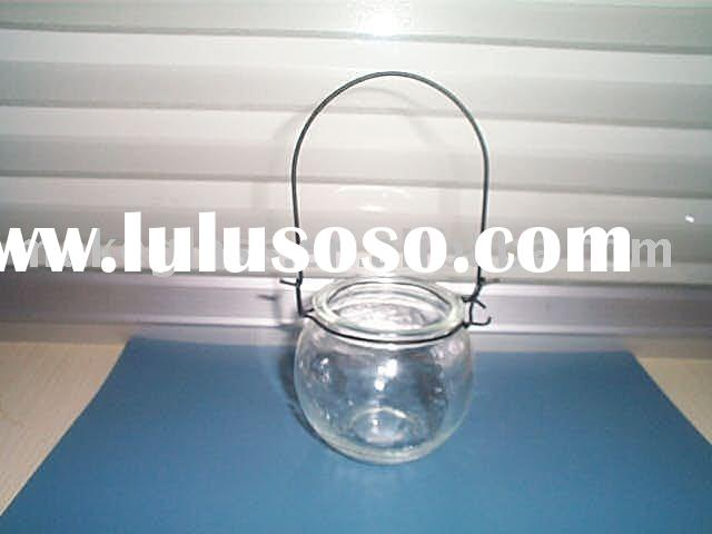 glass candle jar with metal handle,clear glass candle holder,glassware