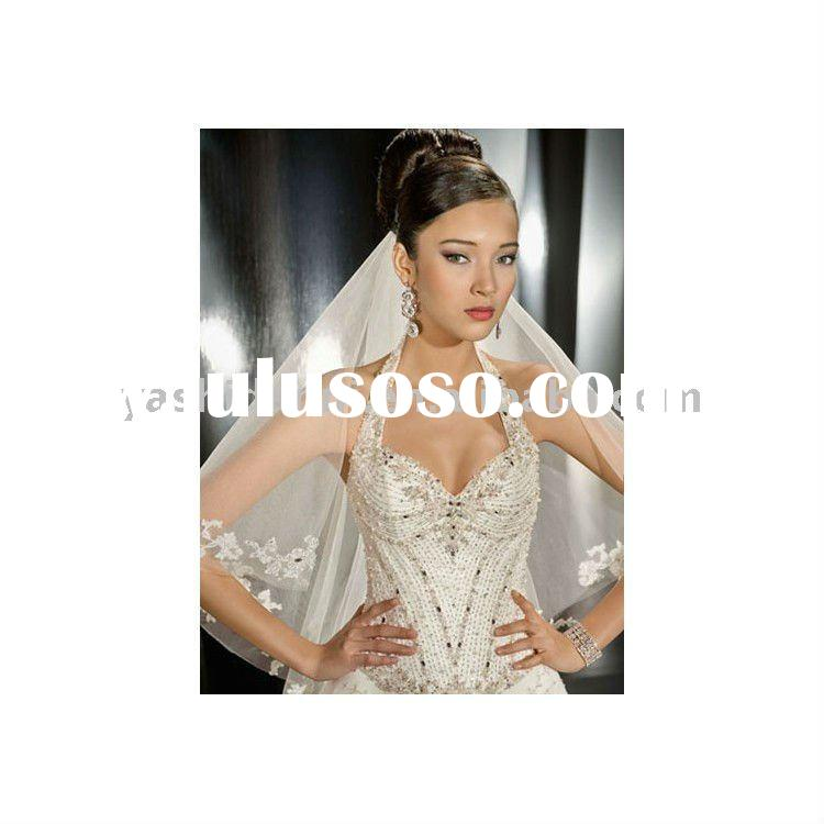 halter beaded on the wedding dress chiffon and satin backless lace wedding dress