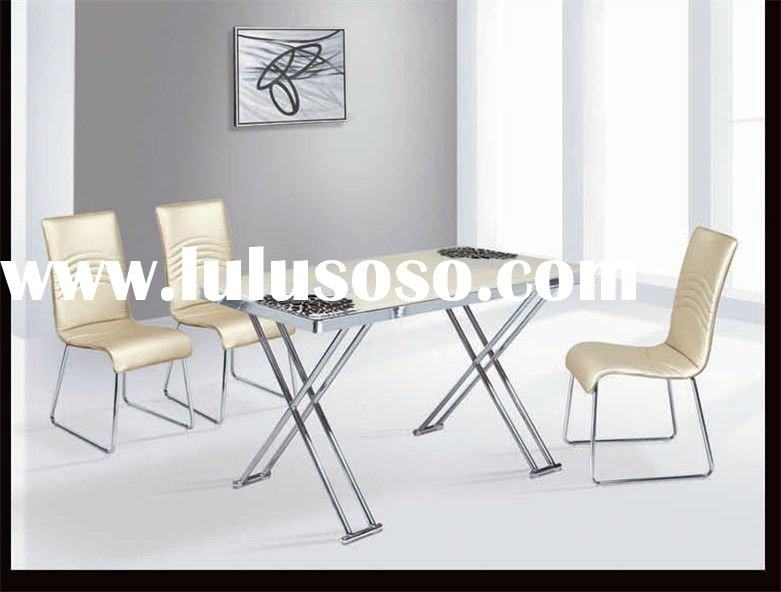 light yellow long tempered glass top metal dinner table dining table,dining room furniture