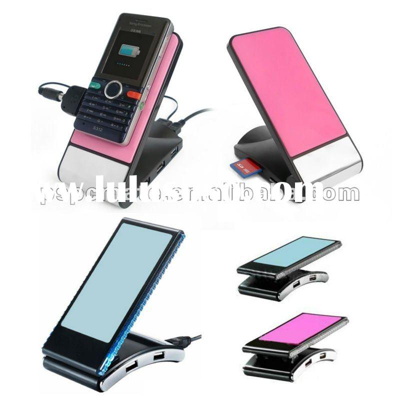 mobile phone holder with usb hub&LED light/phone holder