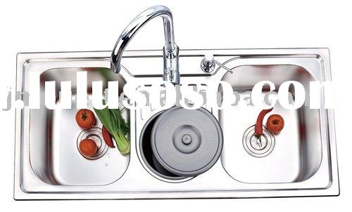 stainless steel vegetable wash restaurant sink overflow double bowl basin