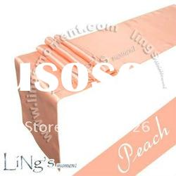 "12"" x 108"" Peach Satin Table Runner Wedding Decoration"