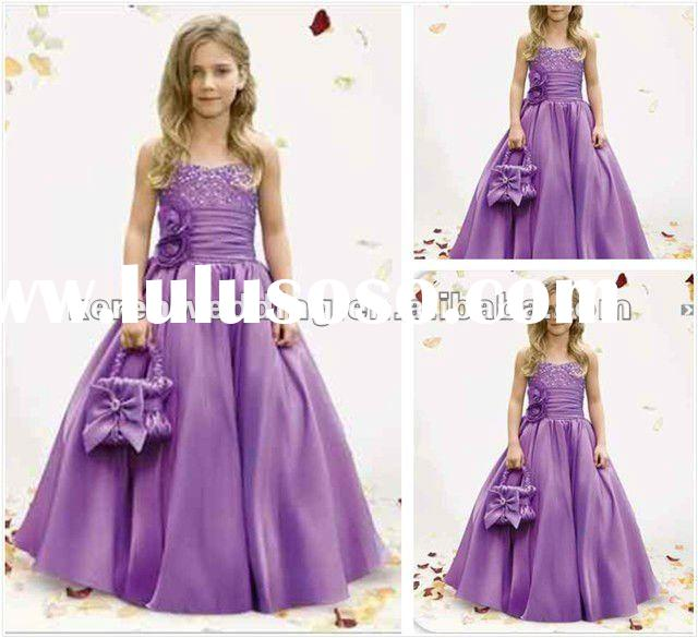 2012 New Style Purple Satin Beaded Children Frocks Designs