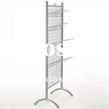 2 Sided Metal T-Shirt Display Rack Stand with Hooks & Sign Holder
