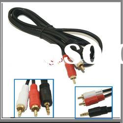 3.5mm Male Mini Plug To 2 RCA Stereo Audio Cable Adapter For Computer