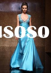 ABE094 Cap sleeve beaded blue haute couture evening dress