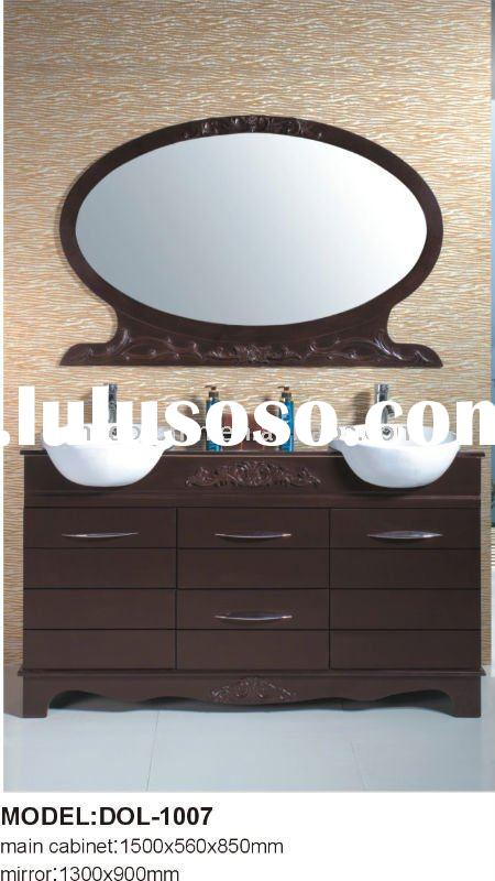 Antique Solid Wood Bathroom Furniture with double ceramic sink DOL-1007
