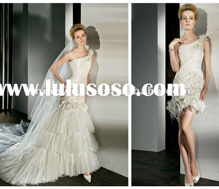 High Quality PV1077 One Shoulder Strap Detachable Train Mermaid Wedding Dress